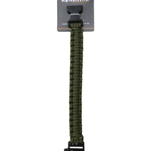 Paracord Survival Wristband and Whistle Olive Green